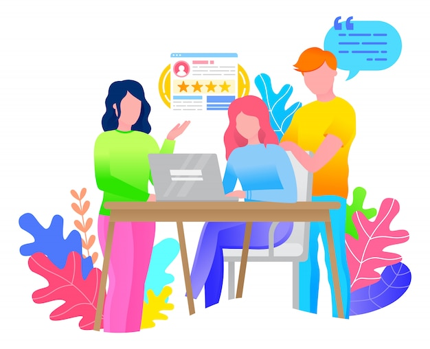 사람들은 사무실에서 프로젝트를 함께 진행합니다. 레이디 앉아 테이블 및 노트북에 입력