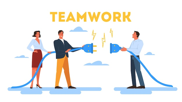 People work together in team. strategy and business planning. workers support each other. teamwork concept.  illustration