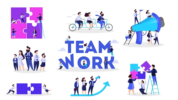 People work together in team. strategy and business