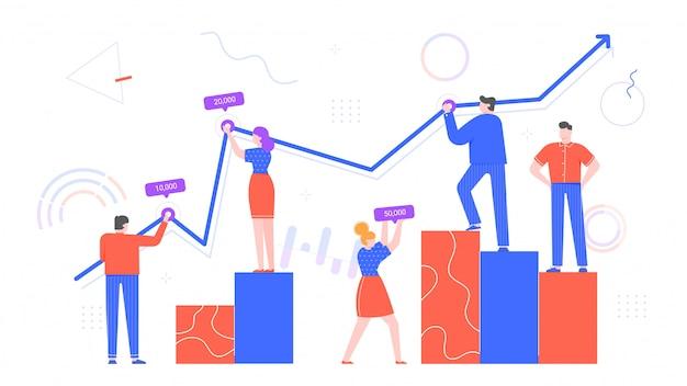 사람들은 차트 데이터로 작업합니다. 직장인 통계, 비즈니스 다이어그램 및 팀 차트 평면 삽화와 함께 작동합니다. 상승 그래프와 사업 예측입니다. 직원 협력