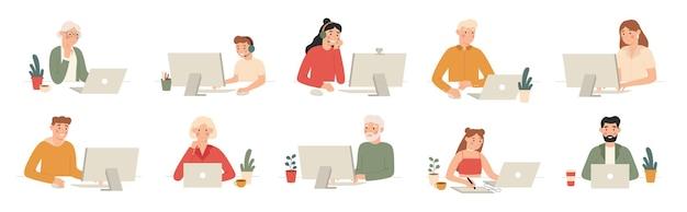 Люди работают с компьютерами. студенты работают с ноутбуком и компьютером, офисные работники и пожилые люди с набором мультфильмов ноутбуки.