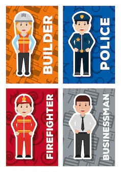People worker profession card