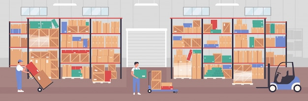 People worker working in warehouse illustration. cartoon flat warehousing company staff characters packing parcel boxes in storehouse hangar interior, logistic service storage work background