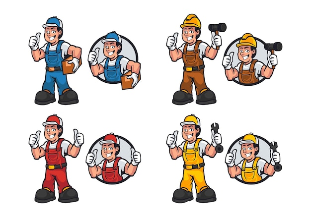 People workers set with cartoon character