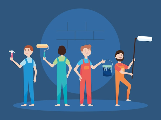 People workers with paint roller brush bucket and hammer  illustration remodeling