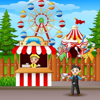 People working at the amusement park
