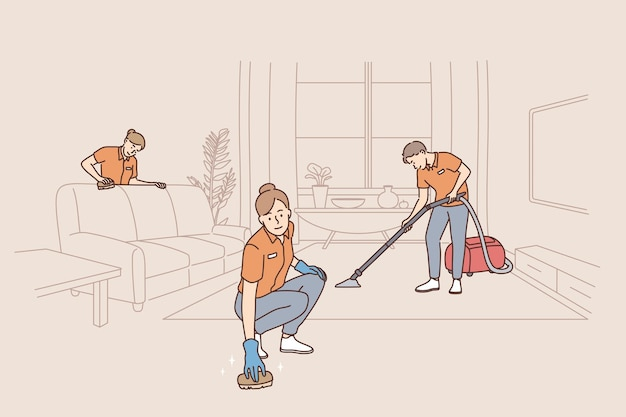 People working as cleaners in service concept