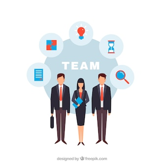People working as a team background in flat style