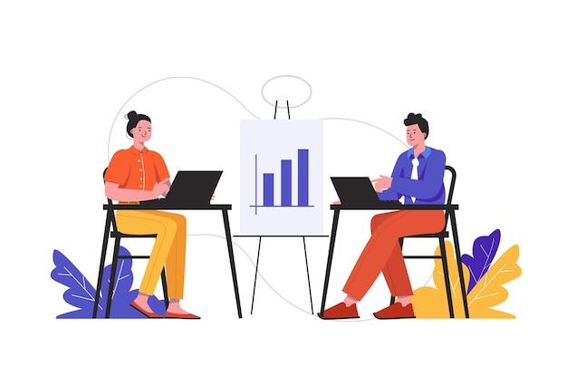 Люди, работающие в офисе вместе. мужчина и женщина работает на изолированной сцене на рабочих местах. успешная работа в команде в офисе и концепция развития бизнеса. векторная иллюстрация в плоском минималистском дизайне