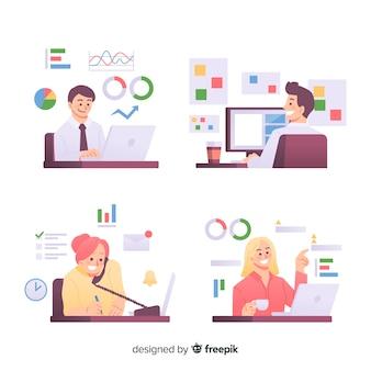 Люди, работающие в офисе плоский дизайн