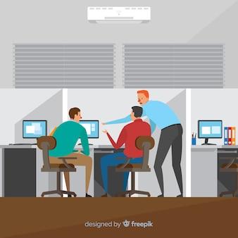 オフィスのイラストで働く人々