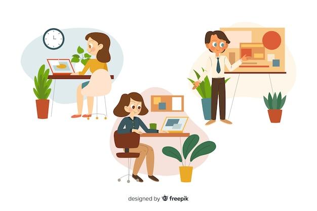 사무실에서 일하는 사람들