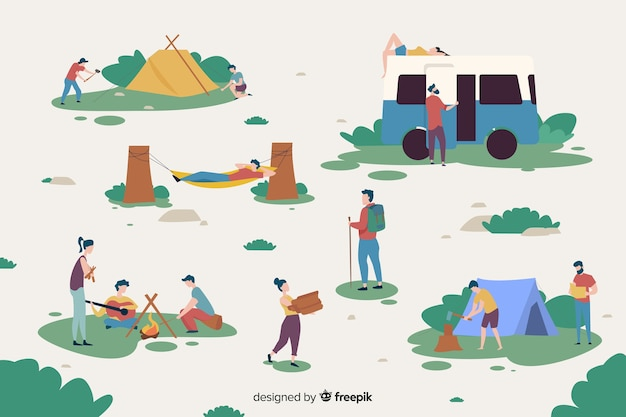 People working on a camping site