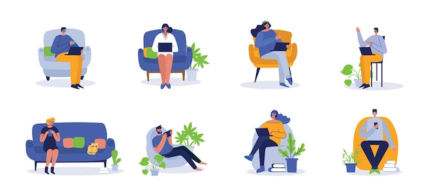 People working on computer at home and in office, flat beautiful illustration