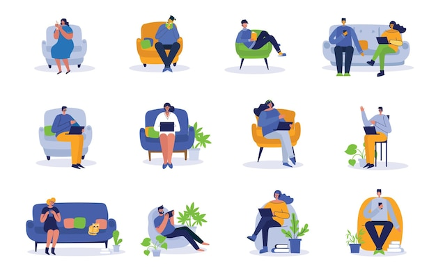 People working on computer and home and in office flat icons isolated
