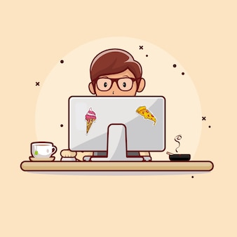 People working on computers with hot tea flat design
