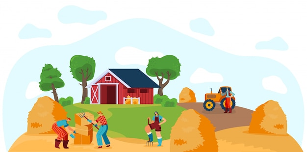 People working on farm, stacking hay bales, illustration