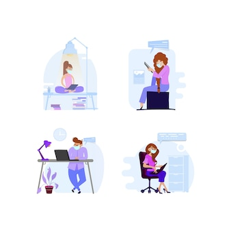 Люди работают из дома или офиса на карантинных планшетах в масках, а также читают новости об экономике или короновирусе.