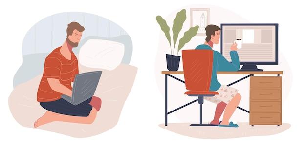 Люди, работающие из дома с помощью портативных компьютеров