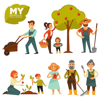 People working in garden colorful vector poster on white