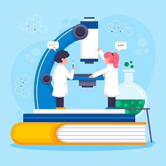 현미경으로 실험실에서 일하는 사람들