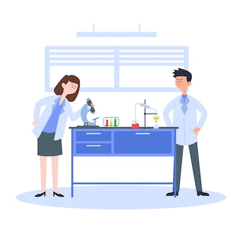 과학 실험실 개념에서 일하는 사람들