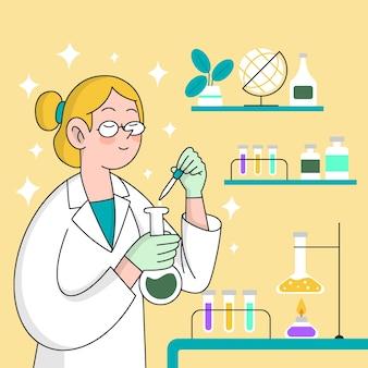 科学実験室の設計で働く人々