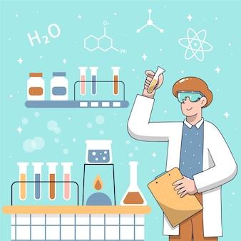과학 실험실 테마에서 일하는 사람들