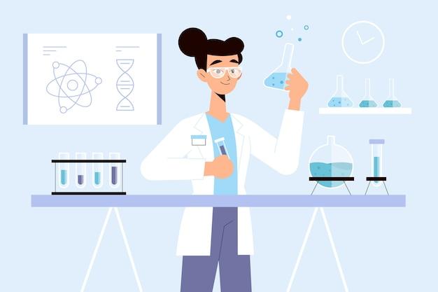 科学実験室で働く人々
