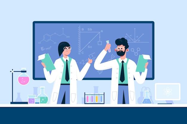 과학 실험실에서 일하는 사람들