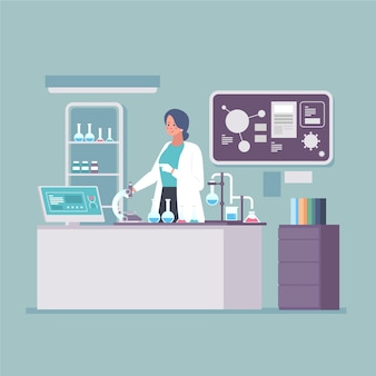 실험실에서 일하는 사람들 일러스트 개념