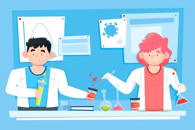 科学実験室の図で働く人々