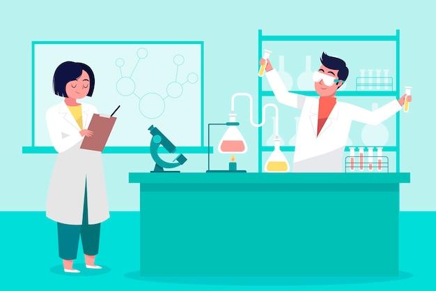 Люди, работающие в научной лаборатории вместе