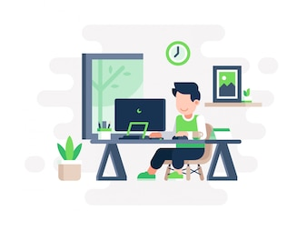 People Working in Small Workspace in Flat Style