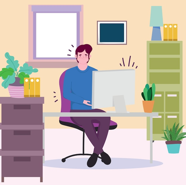 働く人々、オフィスのイラストでコンピューターで働く男