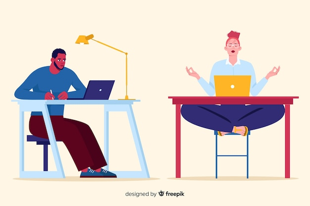 People working at the office flat design