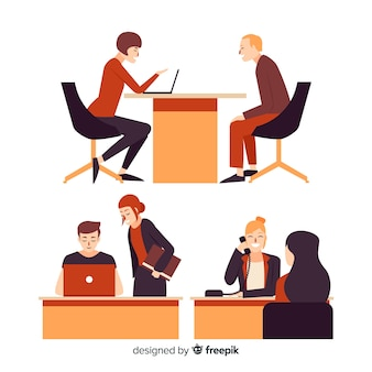 People working at the office illustration