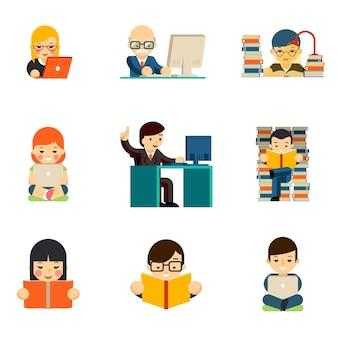 コンピューターで働く人々