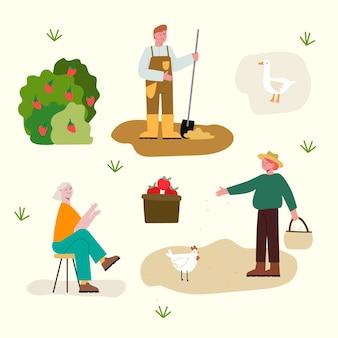 有機農場や家禽で働く人々