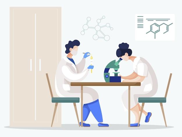 実験室で科学実験に取り組んでいる人