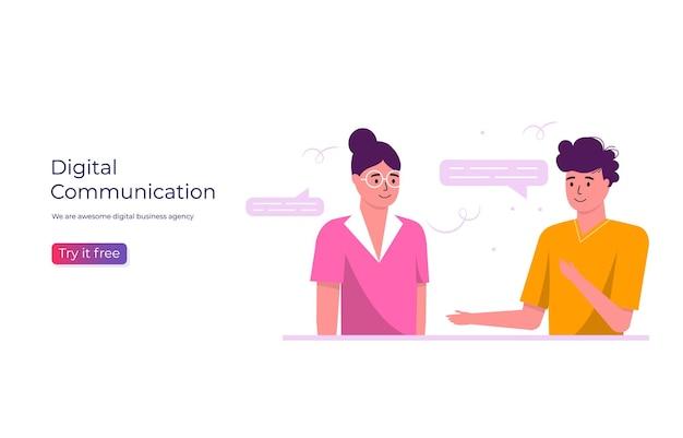 프로젝트에서 일하는 사람들. 비즈니스 주제, 소셜 미디어 네트워크 및 디지털 통신 개념, 보고서, 전단지, 전단지, 광고, 브로셔를 위한 방문 웹 페이지 템플릿. 트렌디한 벡터 스타일