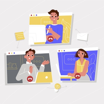 People working online illustrated