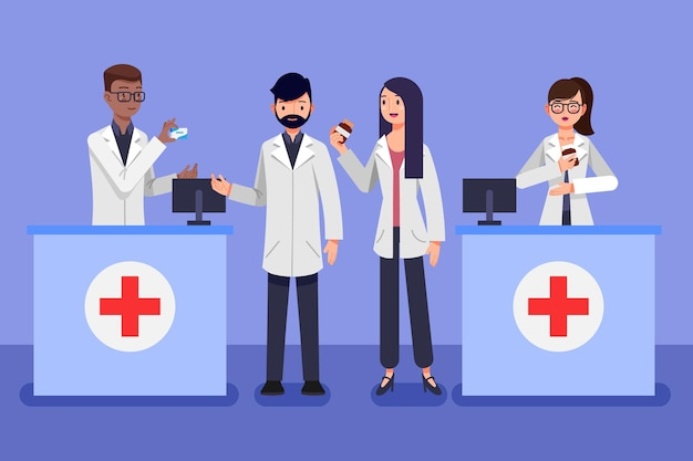 People working in a pharmacy illustrated