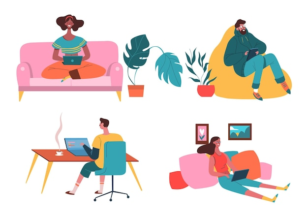 People working remotely scenes flat illustration