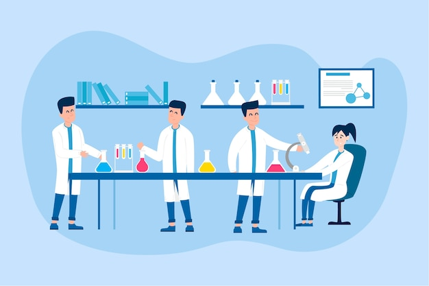 People working in a science lab illustration