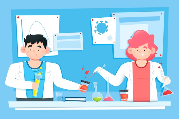 People working in science lab illustration