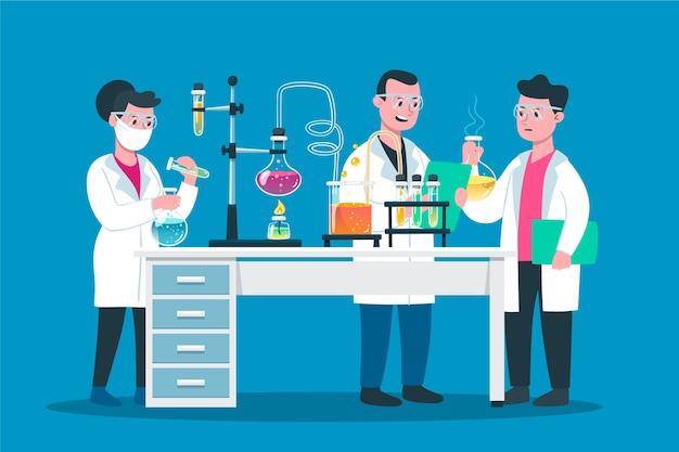 People working in science lab Premium Vector