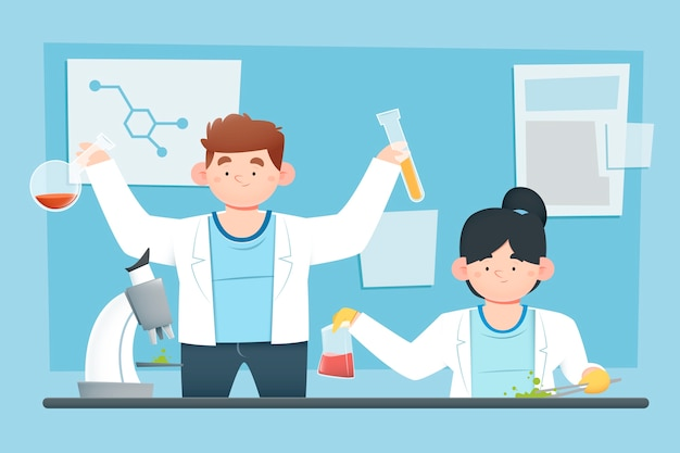 People working in science lab