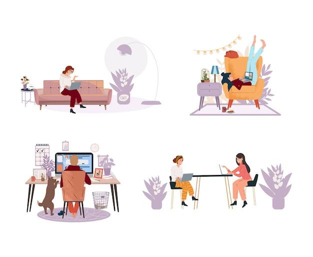 편안한 조건에서 공부하는 사람들은 벡터 평면 그림을 설정합니다. 검역 중인 집에서 컴퓨터를 사용하는 프리랜서 사람들 온라인 쇼핑 교육 남자와 여자 자영업 개념