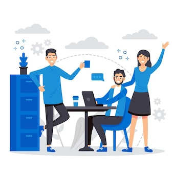 People working together illustration Free Vector
